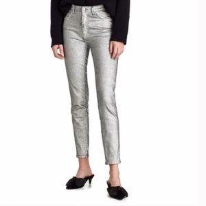 ZARA | High Waisted Metallic Skinny Jeans